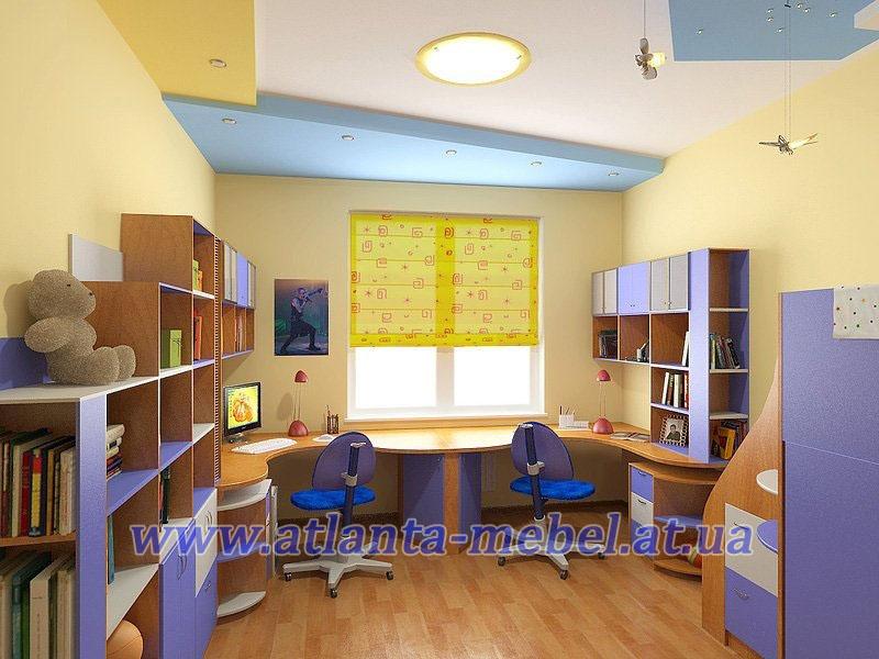 Детская комната с двумя окнами дизайн
